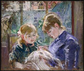 Berthe Morisot<br>French, 1841-95<br><i>The Artist's Daughter, Julie, with Her Nanny</i>, 1884<br>Oil on canvas<br>Minneapolis Institute of Arts<br>The John R. Van Derlip Fund