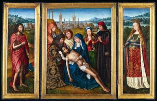 Master of the Legend of Saint Lucy<br>Netherlandish, active about 1475-1505<br><i>Lamentation with Saint John the Baptist and Saint Catherine of Alexandria</i>, 1493-1501<br>Oil on panel