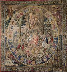 Belgium (Brussels)<br>Circle of Bernard van Orley<br><i> Month of September</i>, 1525-28<br>Silk, wool; tapestry weave<br>Minneapolis Institute of Arts<br>The William Hood Dunwoody Fund