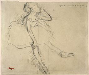 Edgar Degas<br>French, 1834-1917<br><I>Ballet Dancer in Repose</I>, about 1880-82<br>Charcoal on light tan wove paper<br>Gift of Julius Boehler