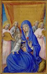 This miniature was cut from a Book of Hours. The Virgin Mary is offering a pink carnation, a symbol of love, to the Christ Child.