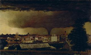 Julius O. Holm<br>American, 1855-1930<br><I>Tornado over St. Paul</I>, 1893<br>Oil on canvas<br>Minneapolis Institute of Arts<br>The Ethel Morrison Van Derlip Fund<br>