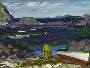 George W. Bellows, <i>The Harbor, Monhegan Coast, Maine</i>, 1913, oil on panel