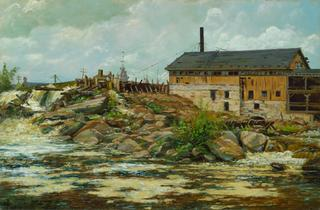 Alexis Jean Fournier<br>American, 1865-1948<br><i>Farnham's Mill at St. Anthony Falls, Minneapolis</i>, 1888<br>Oil on canvas<br>Minneapolis Institute of Arts<br>The Julia B. Bigelow Fund
