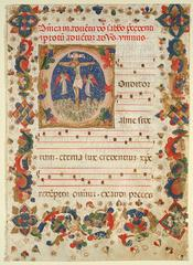 This illuminated manuscript is decorated with an elaborate border and a miniature painting.