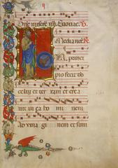 This illuminated page is from an antiphonary, a choral book. Its large size allowed several choir members to use it at once.