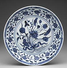 China<br><i>Dish</i>, 1403-24<br>Porcelain with blue decor under clear glaze