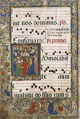 This antiphonary page is made of vellum.