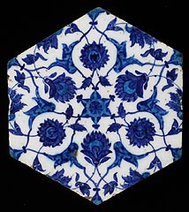 Syria<br><i>Hexagonal Wall Tile</i>, 16th century<br>Earthenware with turquoise and blue underglaze<br>Minneapolis Institute of Arts<br>The William Hood Dunwoody Fund