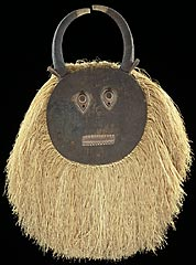 This mask represents kpele kpele, a character from a popular masquerade among the Baule people of Ivory Coast.