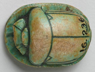 Egyptian, <i>Scarab</i>, 1504-1450 B.C., green-glazed steatite<br><i>Note: The number painted on the scarab's back is the museum's inventory number.<i>