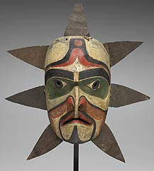 Kwakiutl (kwah-KYOO-tuhl) people, Canada, <i>Sun mask</i>, about 1860, wood, metal, pigment, cord, and cloth