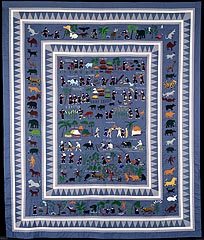 Ka Zoua Lee, <i>Village Story Blanket, </i> c.1980, Cotton, silk, synthetic; appliqué and embroidery