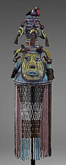 <H6>Yoruba culture<br>Nigeria<br><I>Crown</I>, about 1920<br>Glass beads, leather, canvas, wicker<br>Minneapolis Institute of Arts<br>The Ethel Morrison Van Derlip Fund</H6>