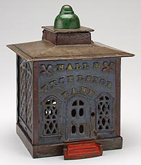 "John D. Hall and J. & E. Stevens Company<br><i>""Hall's Excelsior"" or ""Cashier Bank"" mechanical bank</i>, 1869<br>Iron, wood, pigment<br>Minneapolis Institute of Arts<br>Gift of Katherine Kierland Herberger"