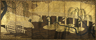Japan, <i>Uji Bridge</i>, Momoyama period, ink, colors, and gold on paper