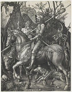Albrecht D&#252;rer<br>German, 1471-1528<br><i>Knight, Death, and the Devil</i>, 1513<br>Engraving<br>Minneapolis Institute of Arts<br>Bequest of Herschel V. Jones